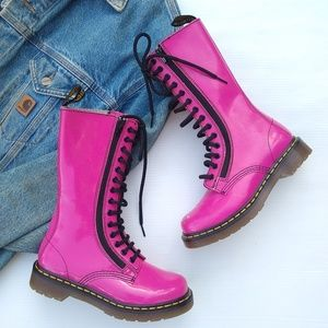 Doc Martens • smooth pink tall lace-up Moto boots